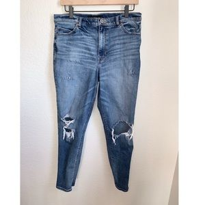 Express High Rise Girlfriend Distressed Jeans